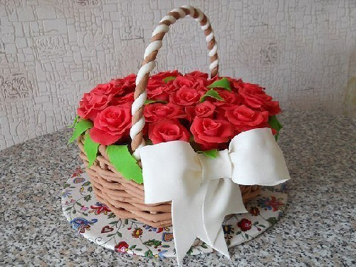 Торт корзина с розами фото