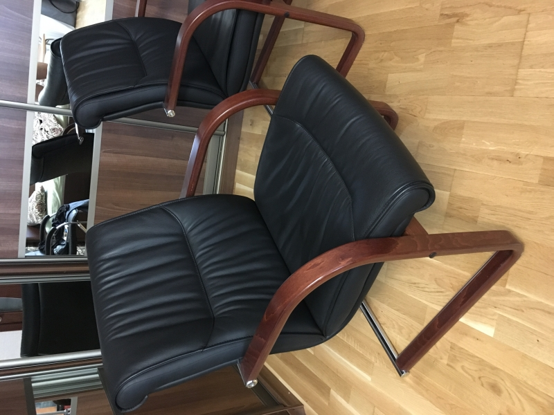 Sitland Кресло кожаное черное