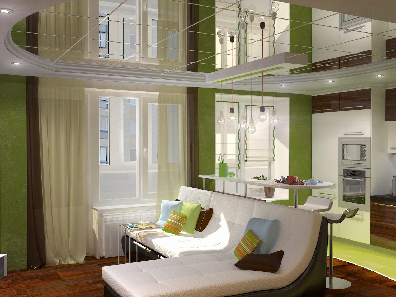 Дизайн с зеркальным потолок